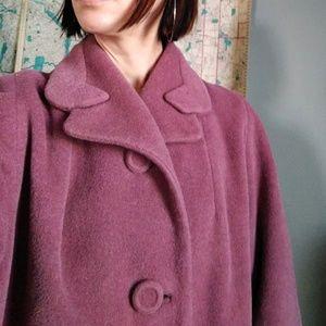 vintage 60's pink wool velour swing coat